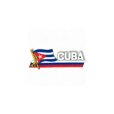 CUBA SIDEKICK WORD COUNTRY FLAG IRON-ON PATCH CREST BADGE 1.5 X 4.5 IN.
