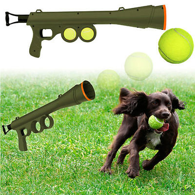 Tennis Ball Launcher Gun Rated Best Dog Toy Includes 2 Balls Sports Game