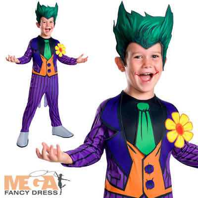 Joker Boys Fancy Dress Batman Kids Classic Cartoon Halloween Childrens Costume