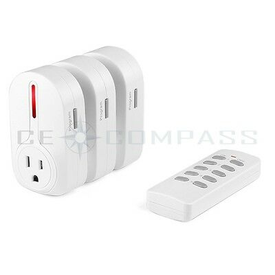 3-Pack Wireless Remote Control AC Electrical Power Outlet Plug Switch Socket
