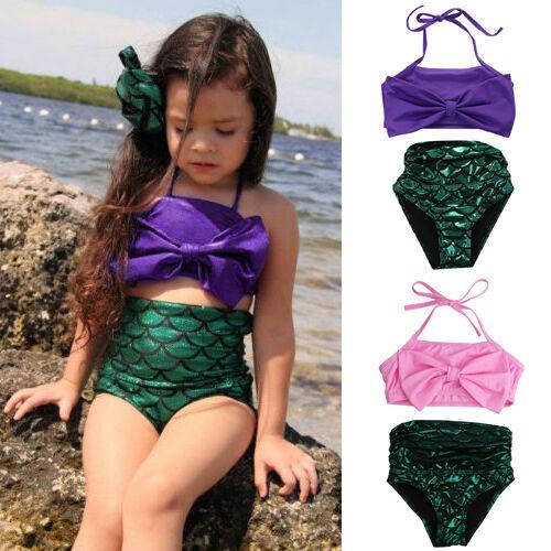 USA STOCK Girls Mermaid Bikini Set Swimmable Swimming Princess Costume Swimsuit