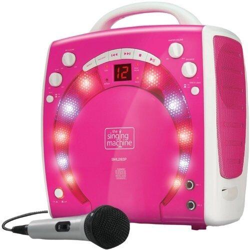 Kids Pink Karaoke Party Singing Machine Girls Portable Disco Lights With 3x CDGs