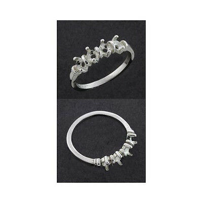(4) 3mm Round Deco Sterling Silver .925 Mothers Ring Setting (Ring Size 7 -