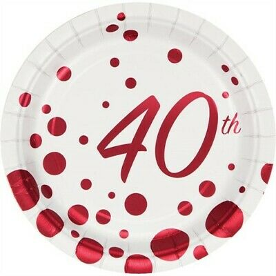 Sparkle and Shine Ruby 40th Anniversary Foil 7 Inch Plates Party Decorations (40th Anniversary Decorations)