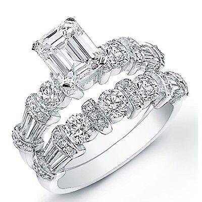 3.98 Ct. Emerald Cut Diamond Engagement Bridal Set GIA