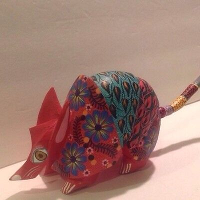 SIGNED  ARMADILLO  Alebrije Oaxacan Wood Carving Handcrafted Folk Art Mexi