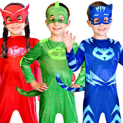 PJ Masks Kids Fancy Dress Animal Superhero Book Day Childrens Halloween Costumes (Kids Superhero Halloween Costumes)