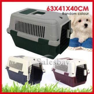 Large Portable Pet Dog Cat Carrier Travel Cage Lockable Gate