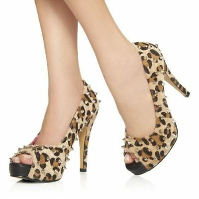 Abbey Dawn Avril Lavigne Leopard Stud Stilletto Platform heels, used for sale  Southington