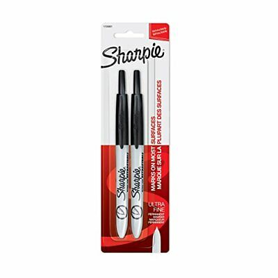 Sharpie Retractable Permanent Markers Ultra Fine Point Black 2 Count