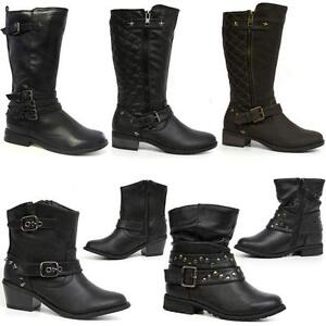 GIRLS-SCHOOL-BOOTS-BIKER-PARTY-RIDING-WESTERN-FORMAL-WINTER-ZIP-BLACK-SHOES-SIZE