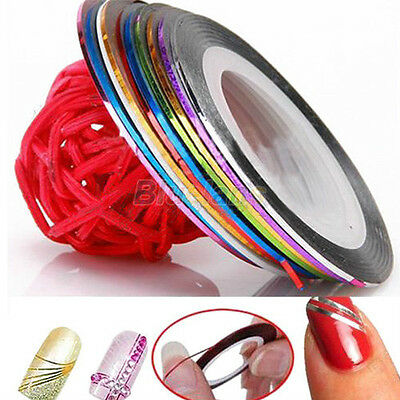 10 Color Rolls Striping Tape Line Nail Sticker Nail DIY Kit Nail Art UV Gel Tips on Rummage