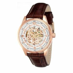 Akribos XXIV Men's AK410RG 'Saturnos' Skeleton Automatic Gold Round Brown Watch