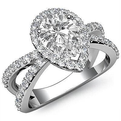 2 Row Split Shank Filigree Halo Pear Diamond Engagement Ring GIA H VS2 1.75 Ct