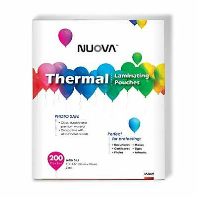 Nuova Premium Thermal Laminating Pouches 9 X 11.5letter Size3 Mil 200 Pack