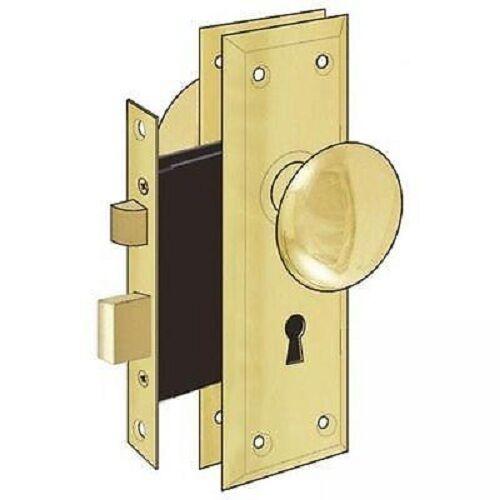 Купить Door Brass Locks Antique Vintage Hardware Set Knob Mortise 2-1/4 in Handle New