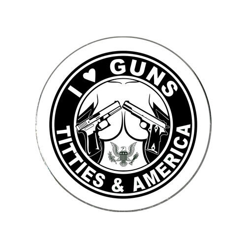 I Love Guns Titties & America Golf Ball Marker Novelty Gift