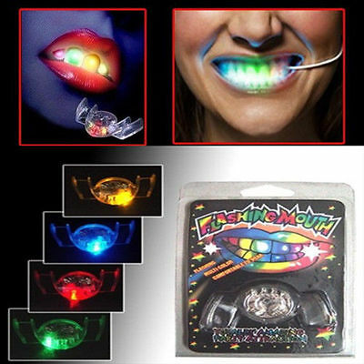 4 Colors LED Flashing Mouth Piece Mouthguard Light Up Teeth Halloween Party Gift - 4 Halloween Colors