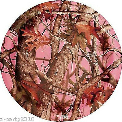 HUNTING Pink Camo LARGE PAPER PLATES (8) ~ Birthday Party Supplies Dinner Lunch