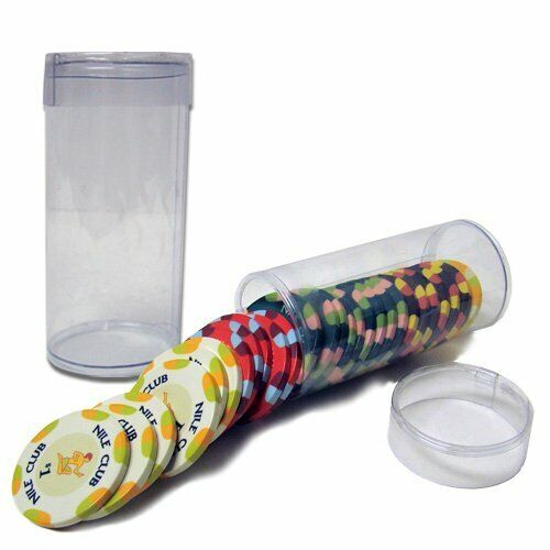 Clear Poker Chip Organizer Storage Tubes, Holds 25 Poker Chips, 50-pack