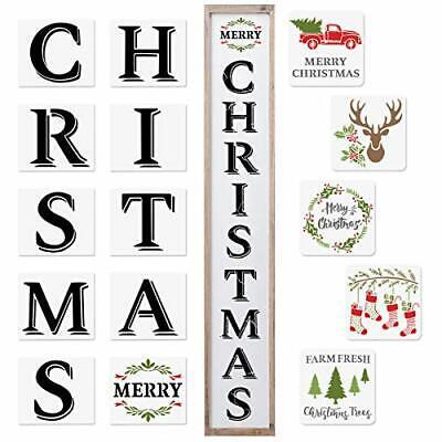 Large Christmas Sign Stencils 15 Pcs Reusable Plastic Stencils Including Chri...