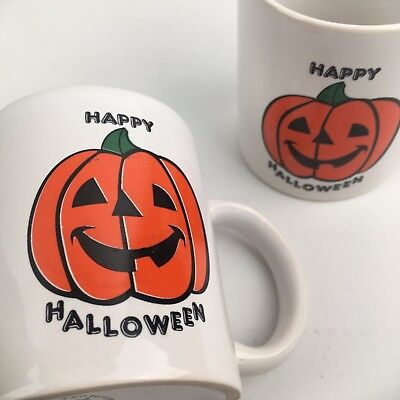 Set 2 Vintage 80s 90s Happy Halloween Classic Jack O Lantern Coffee Mug Pumpkin (Happy Halloween 80s)
