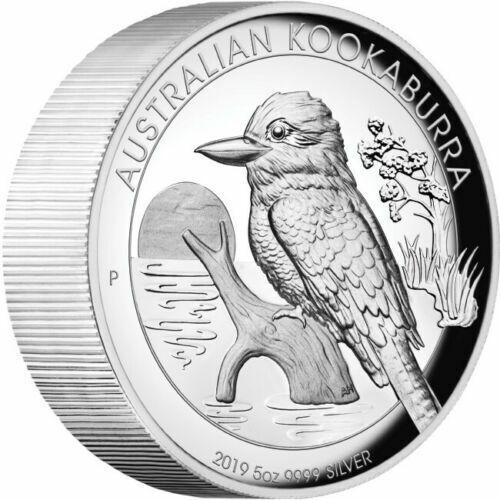 2019 Australia $8 High Relief Kookaburra Proof 5 oz .9999 Silver Coin Box & COA