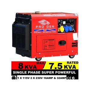 2018 Model Progen Diesel Generator 230V 50Hz 8 kVA Super Silent Electric Start