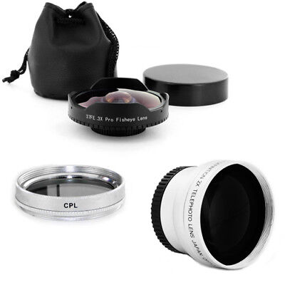 37mm 0.3x Wide Angle Fisheye Lens + 2x Tele + CPL Filter for Sony HDR-XR160 New, used for sale  Shipping to India