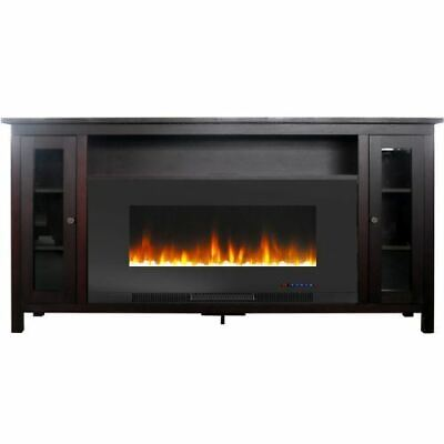 "Somerset 70"" Electric Fireplace TV Stand with Crystal Rocks"