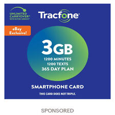 Tracfone Prepaid Wireless Smartphone Plan+SIM-1200 Min,1200 Txt, 3GB Data