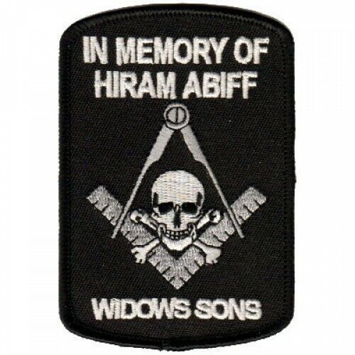 WIDOWS SONS IN MEMORY SKULL SQUARE MASON MASONIC EMBROIDERED IRON ON  PATCH