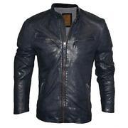 Mens Leather Biker Jacket Small
