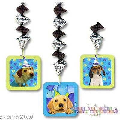 PUPPY PARTY HANGING CUTOUT DECORATIONS (3) ~ Pet Dog Playtime Birthday Supplies Animals Hanging Cut Out
