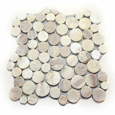 Quartz Round Mosaic Flat Pebble Tile - Rock Beige Creme - Floors Bathroom -