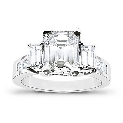 New 1.72 Ct Emerald Cut 3 stone Engagement Diamond Ring 14K WG F,VVS2 GIA
