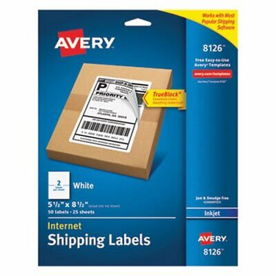 Avery 8126 White Internet Shipping Labels 5-12 X 8-12 50 Labels Ave8126