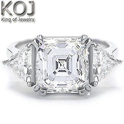 1.50 Ct Asscher Cut Diamond 3 Stone Engagement Ring G,VS2 GIA Certified Center