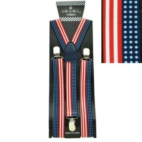 New Usa Patriotic Adjustable Braces Clip On Y-shape Suspenders Us American Flag