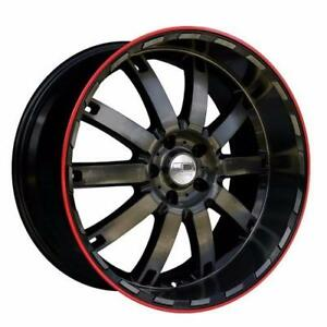 **PROMOTION** MAGS NEUFS 18'' 5 X 114.3 HD WHEEL AUTOBAHN TRANSPARENT BLACK OVER MACHINED FACE/ RED RING