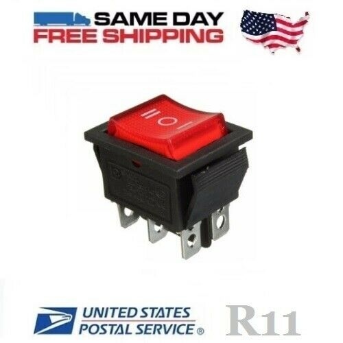DPDT ~ Double Pole Double Throw 6-Pin (ON-OFF-ON) 20amp Red LED Rocker Switch