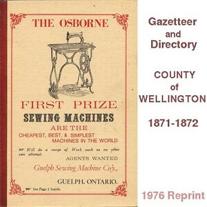 Gazetteer and Directory of the County of Wellington for 1871-2 Cambridge Kitchener Area image 1
