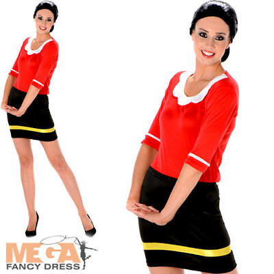 Sailor Girl Ladies Fancy Dress Olive Oye Cartoon Womens Adult Costume Outfit New ()
