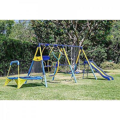 Kids Playground Set Outdoor Swing Slide w/Trampoline Backyard Playset Kids Fun