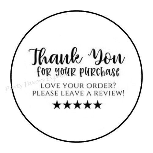 """48 THANK YOU FOR YOUR PURCHASE REVIEW ENVELOPE SEALS LABELS STICKERS 1.2"""" ROUND"""