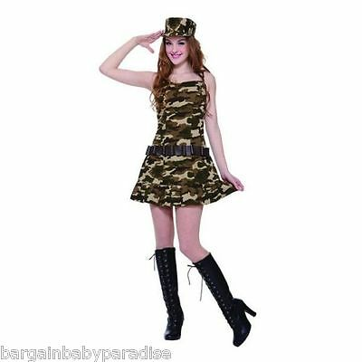 Army Girls Costume (NWT Army Cadet Costume 2 Pc Dress & Hat Set Teen Girls One)
