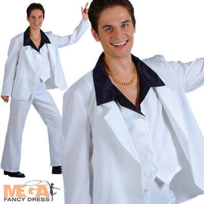 70s Disco Fever Suits Men Fancy Dress 1970s John Travolta Adults Costume Outfit - Disco Fever Outfits