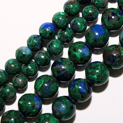 AZURITE ROUND BEADS BLUE GREEN COLOR MIXES 6MM STONE BEAD STRAND (Azurite Blue Color)