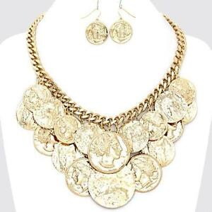 Gold coin necklace ebay gold roman coin necklace aloadofball Image collections