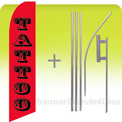 Tattoo Swooper Flag Kit Feather Flutter Banner Sign 15 Tall - Rb
